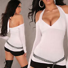 V Neck Tops Women Backless Halter Long Sleeve Slim Clubbing T-Shirt [JG]