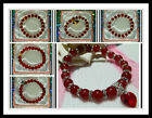 8mm RUBY RED GLASS BEADS STRETCH BRACELET ~ SILVER OR GOLD SPACERS ~ CHARM