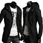NEW Men's Military Slim Fit Jacket Coat Rider Zip Button Hoody 3 Colors XS S M L