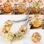 Wholesale Enamel Mixed Ribbon European Charms Beads Gold Breast Cancer Awareness