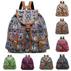 Printed Lady Girls Canvas Travel Backpack Rucksack Shoulder Satchel Tote Bookbag