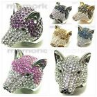 18K white/gold plated animal  Fox wolf dog husky ring CRYSTAL cocktail clear pet