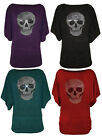 62A-KNITTED SEQUIN STUD SKULL SHORT SLEEVE BATWING RUCHED JUMPER TOP-SIZE 8-26