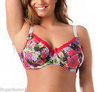 Lotus Floral Red Full Cup Underwire Bra 16 18 20 22 24 26 D DD E F G H b406