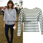 td51 Celebrity Style Loose Fit Bat-wing Sleeve Sailor Striped T-shirt Top