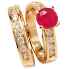 Brand New 18ct Gold Filled Ladies Ruby Wedding / Anniversary / Engagement Ring