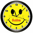 SMILEY FACE WALL CLOCK PERSONALIZED HAPPY CHILDREN'S BEDROOM DECOR YELLOW SMILE