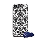 Black and White Damask - Silicone Rubber Case for iPhone 5 or 5s, Cell Cover