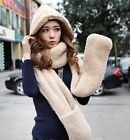 Womens Quality Thick Long Faux Fur Warm All In One Hat/Scarf/Gloves 7 Colors