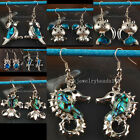 New Zealand Abalone Blue Shell Owl Fish Horse Gecco Cat Earrings Pair WFC063