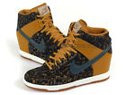 Nike Wmns Dunk Sky Hi PRM Gold Suede/Dark Armory Blue Wedges Casual 585560-700