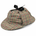 Sherlock Holmes tweed deerstalker hat with two peaks and ear flaps