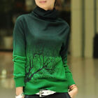 Cowl Neck Pullover Knit Tops Floral Slim Long Sleeve Sweater  [JG]