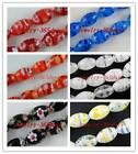 25pcs Millefiori Glass Rice Shaped Beads 8x12mm 6colors-1 P186-P191