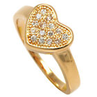New 18ct Gold Filled Ladies / Women Heart Shaped Cubic Zirconia Engagement Ring