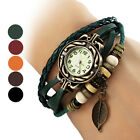 New Fabulous Women's Leaf Style Leather Band Quartz Analog Bracelet Watch ONSALE