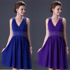 2014 Pleated  V-neck Women Knee-length Formal Dress Bridemaid Gown Grace Karin