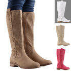 Studded Zipped Knee High Boots White Beige Khaki Fuchsia Womens Cut Out Size 3-7