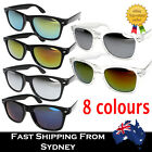 Men Women Wayfarer Sunglasses Reflective Lens Clear Black Frame Free AU Shipping