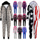 Womens Mens All In One Unisex Jumpsuit Ladies Geek Leopard Print Hooded Playsuit