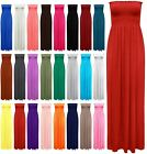 New Womens Sleeveless Boobtube Bandeau Maxi Ladies Sheering Long Dress Size 8-26