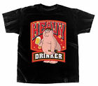 Family Guy Stewie Peter Heavy Drinker Drinking Beer Adult T Shirt Licensed NWOT