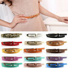 Women Lady Fashion Faux Leather Thin Skinny Waistband Belts