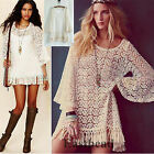 Hot Fashion Lace Hippie Boho Bell Sleves Gypsy Festival Fringe mini Dress Top