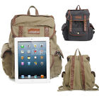 Vintage Women Men's Canvas Rucksack Shoulder Bag Backpack Leather Trim Bags