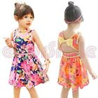 Baby Girls Kids Classical Bowknot Flower Floral Skirt Vintage Dress Tunic 1-6 Y