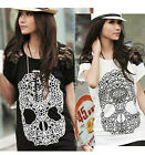Korean Fashion Women Casual Skull Short Sleeve Lace Shirt Loose Blouse Tops New
