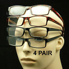 4 PAIR LOT READING GLASSES CLEAR LENS MEN WOMEN NEW + STRENGTH PACK POWER