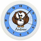 OWL NURSERY WALL CLOCK PERSONALIZED GIFT WALL DECOR BLUE BOYS BEDROOM BABY