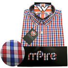 Warrior Retro Short Sleeve Button Down Shirt FAWKES Mod Skinhead Red Blue White