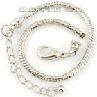 RUBYCA Silver Plated Lobster Clasp Snake Chain Bracelet fit European Charm Beads