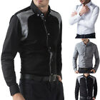 PJ JS Stylish Mens Casual Formal Office Business Dress Patched Slim Fit Shirts