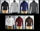 Mens Casual Slim Long Sleeve Solid Color Turtleneck Sweater T-Shirt Tee Top-UKEW