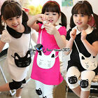 Summer Baby Girl Child kids Fake Cat Bag T-Shirt Top+Leggings Pants Sets 3-8Y