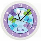 BUTTERFLY NURSERY WALL CLOCK PERSONALIZED GIFT GIRLS BLUE PURPLE GREEN