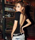 Occident Ladies Summer Fashion Backless Short Sleeve V-Neck Tops T Shirt Blouses