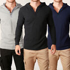 Mens WAFFLE Hooded Button Henleys Style Jumpers Quality Designer Knit Hood Light