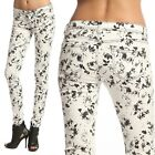 TheMogan Black And White Floral Print Stretch Denim Skinny Jeans