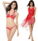 3 Piece Red Polka Dot Halter Bikini Top Bottom Beach Cover Up Sarong Wrap Dress