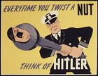 World War Two Anti german American Propaganda Poster  A3/A2 Print