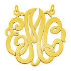 40mm Round Personalized Custom Monogram Pendant Yellow White Pink Gold Silver