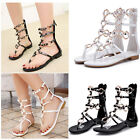Metal Flat Womens Roma Gladiator 100% Leather Boots Sandals Shoes Plus Size 5 8