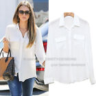 ts2N6V2 Celebrity Style Fashion Must Chiffon Boyfriend White Shirt w Pockets