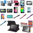 """Folio PU Leather Case Stand Cover+Stylus+Clear LCD Guard For 7"""" Inch Tablet"""