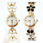 2014 Women Girl Chic Fashion Daisies Flower Rose Golden Bracelet Wrist Watches J