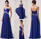Elegant Blue Strapless Chiffon Gown Long Evening Prom Party Bridesmaid Dress JS